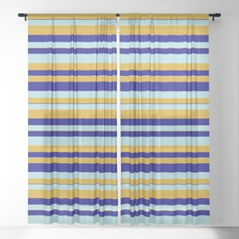 Powder Blue, Goldenrod, and Blue Colored Striped Pattern Sheer Curtain