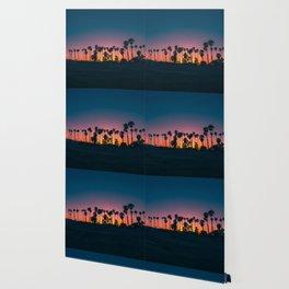 Landscape Photography California Palm Trees Against Purple Pink Yellow Orange Sunset Wallpaper