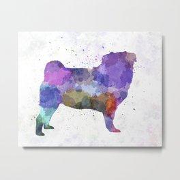 Pug 02 in watercolor Metal Print