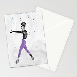 Model Pose in Purple Tights Stationery Cards