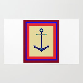 A Nautical Anchor with Boarder Rug
