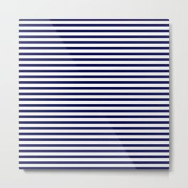 Navy Blue & White Maritime Small Stripes- Mix & Match with Simplicity of Life Metal Print