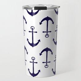 Navy Blue Anchor Pattern Travel Mug