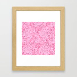Christmas Pink Lace Doves and Flowers Framed Art Print