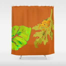 Leaves de la Autumn painting with digital frolicksomeness Shower Curtain