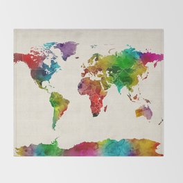 Watercolor Map of the World Map Throw Blanket