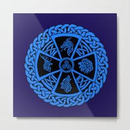 Celtic Nature 2 Blue Metal Print