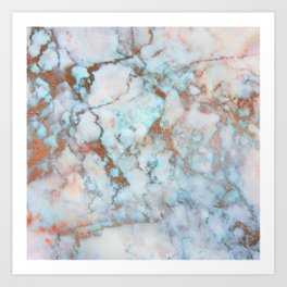 Rose Marble with Rose Gold Veins and Blue-Green Tones Art Print
