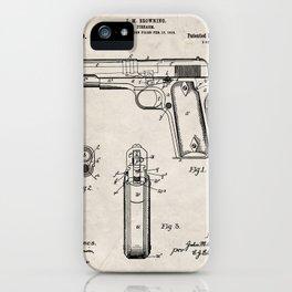 Colt Pistol Patent - Browning 1911 Colt Art - Antique iPhone Case