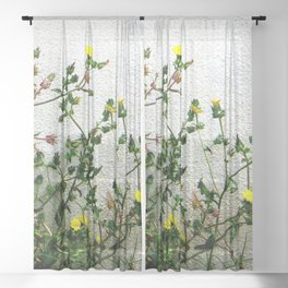 Minimal flora - yellow daisies wild flowers Sheer Curtain