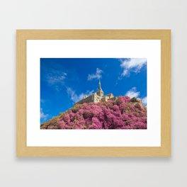 Mont Saint-Michel Abbey - Pink Fantasy Framed Art Print