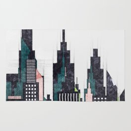 Colorful City Buildings And Skyscrapers Sketch, New York Skyline, Wall Art Poster Decor, New York Rug