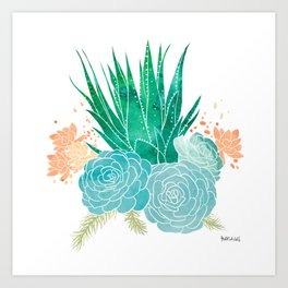 Watercolour Cactus Blossoms Art Print