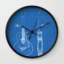 Accoustic Guitar Patent - Classical Guitar Art - Blueprint Wall Clock