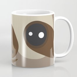 funny and cute smiling Three-toed sloth on brown background Coffee Mug
