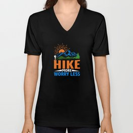 Hike More Worry Less Funny Hiking Sayings Unisex V-Neck