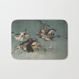 Hieronymus Bosch flying ships and creatures Bath Mat