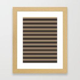 Tan Brown and Black Horizontal Var Size Stripes Framed Art Print