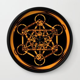 Metatron Cube Gold Wall Clock