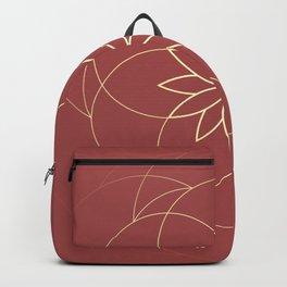 Minimalist Sacred Geometric Golden Flower in Terracotta Color Backpack