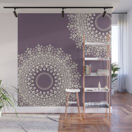 Asymmetric Mandalas on Mulberry Background Wall Mural