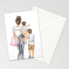I got it from my mama 2 boys brunettes Stationery Cards