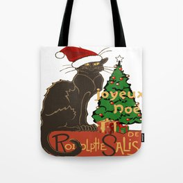 Joyeux Noel Le Chat Noir With Tree And Gifts Tote Bag