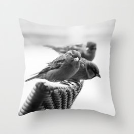 Sparrows On Chair Back Throw Pillow