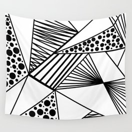 Modern abstract black white geometric stripes polka dots Wall Tapestry