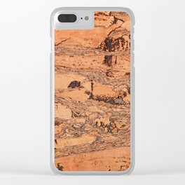 Brown cork material texture Clear iPhone Case