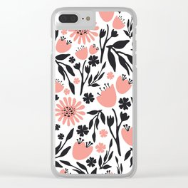 Floral Pattern Dark Gray and Light Coral Clear iPhone Case
