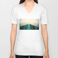 bridge V-neck T-shirts featuring suspension bridge by Sookie Endo
