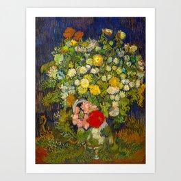 Bouquet of Flowers in a Vase Vincent van Gogh Oil on canvas 1890 Art Print