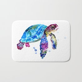 Sea Turtle, Blue Purple Turtle illustration, Sea Turtle design Bath Mat