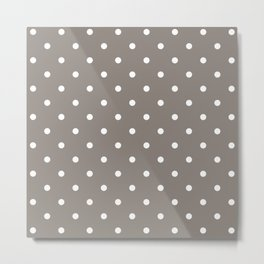 Polka Dots Pattern: Neutral Brown Metal Print