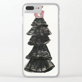 Fashion illustration, black dress Clear iPhone Case