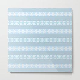 Snow Flakes On Blue Metal Print