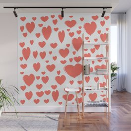 Living Coral scattered Hearts Wall Mural