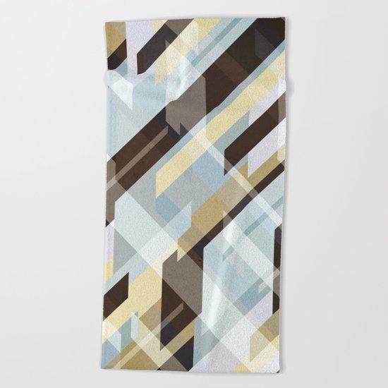 Geometric Earth Tones Abstract Beach Towel