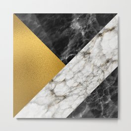 Gold foil white black marble #4 Metal Print