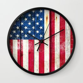 Vintage American Flag On Old Barn Wood Wall Clock