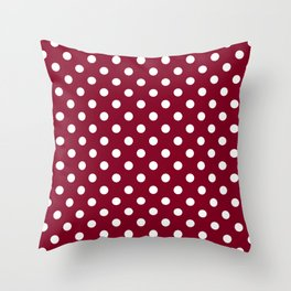 Small Polka Dots - White on Burgundy Red Throw Pillow