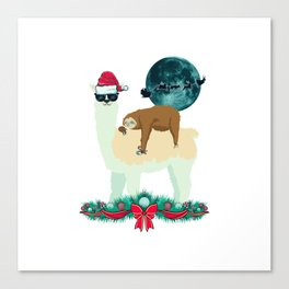 Llama Sloth Christmas Santa's Sleigh Silhouette In Front Of The Moon Canvas Print