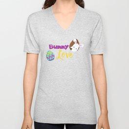 Bunny Love, White Bunny, Colorful Easter Egg Unisex V-Neck