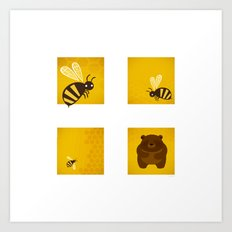 Bees and Bear by Friztin Art Print