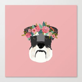 Schnauzer floral crown dog breed pet art schnauzers cute pure breed gifts Canvas Print