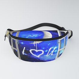 I Love You Heart Hanging from Moon Window Stars Bedroom Art A568 Fanny Pack