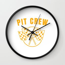 Automotive Race Car Sports Team Pit Crew Racing Car Racetrack Checkered Flag T-shirt Design Wall Clock