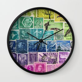 Rainbow Postage Stamp Art Collage Wall Clock