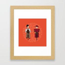 Retro cyclists Framed Art Print